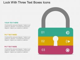 Lock With Three Text Boxes Icons Flat Powerpoint Design