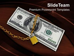 Locked Money Financial Security Concept Powerpoint Templates Ppt Themes And Graphics