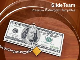 Locked Money On Wooden Table Cash PowerPoint Templates PPT Themes And Graphics 0213