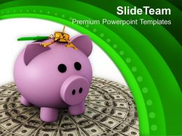 Locked Piggy Bank On Dollars PowerPoint Templates PPT Themes And Graphics 0213