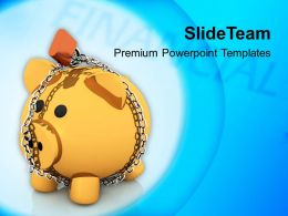 Locked Piggy Bank Security PowerPoint Templates PPT Themes And Graphics 0213