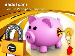 Locked Piggy Bank Security Real Estate PowerPoint Templates PPT Themes And Graphics 0213