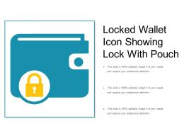 Locked Wallet Icon Showing Lock With Pouch