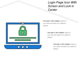 Login Page Icon With Screen And Lock In Center