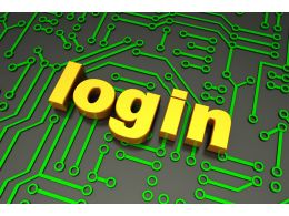 Login Text On Metallic Circuit Stock Photo