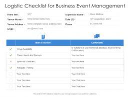 Logistic Checklist For Business Event Management