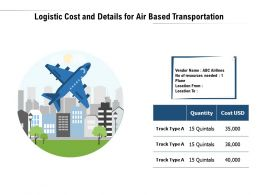 Logistic Cost And Details For Air Based Transportation