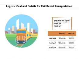 Logistic Cost And Details For Rail Based Transportation