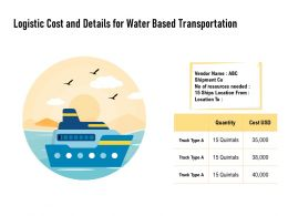 Logistic Cost And Details For Water Based Transportation