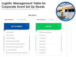 Logistic Management Table For Corporate Event Set Up Needs