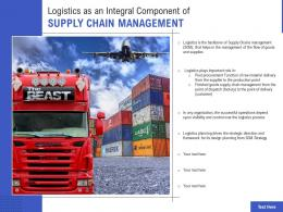 Logistics As An Integral Component Of Supply Chain Management