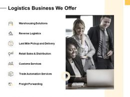 Logistics Business We Offer Ppt Powerpoint Presentation Image