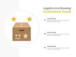 Logistics Icon Showing Guaranteed Goods