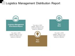 Logistics Management Distribution Report Ppt Slides Summary Cpb