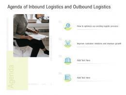 Logistics Management Optimization Agenda Of Inbound Logistics And Outbound Logistics Ppt Grid