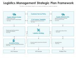 Logistics Management Strategic Plan Framework