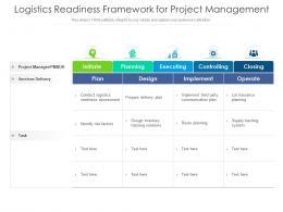 Logistics Readiness Framework For Project Management