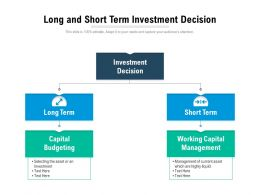 Long And Short Term Investment Decision