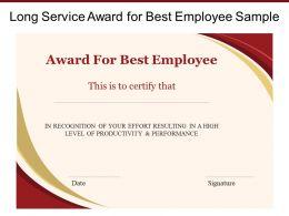 Long Service Award For Best Employee Sample