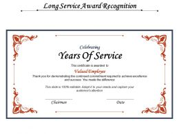 Long Service Award Recognition