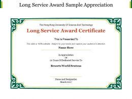 Long Service Award Sample Appreciation