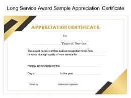 Long Service Award Sample Appreciation Certificate