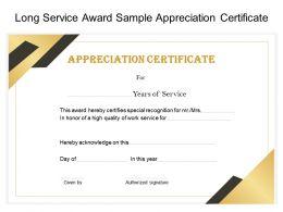 Long Service Award Sample Appreciation Certificate