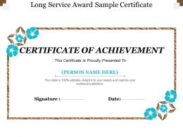 Long Service Award Sample Certificate