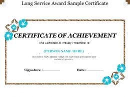 Long Service Award Sample Certificate