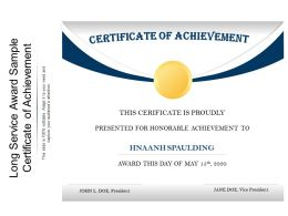 Long Service Award Sample Certificate Of Achievement