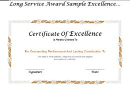 Long Service Award Sample Excellence Certificate