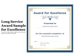 Long Service Award Sample For Excellence