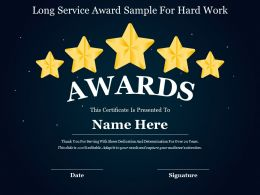 Long Service Award Sample For Hard Work