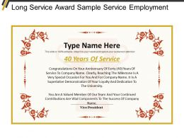 Long Service Award Sample Service Employment