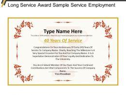 Long Service Award Sample Service Employment