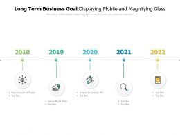 Long Term Business Goal Displaying Mobile And Magnifying Glass