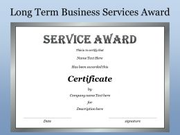 Long Term Business Services Award