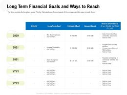 Long Term Financial Goals And Ways To Reach Cut Ppt Powerpoint Presentation File Tips