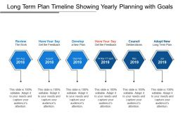 Long Term Plan Timeline Showing Yearly Planning With Goals