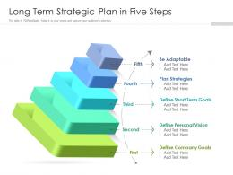 Long Term Strategic Plan In Five Steps