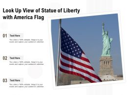 Look Up View Of Statue Of Liberty With America Flag