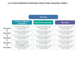 Lot Control Material Certification Work Order Generator Define Problem