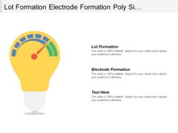 Lot Formation Electrode Formation Poly Si Formation Contact Etching