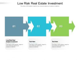 Low Risk Real Estate Investment Ppt Powerpoint Presentation Portfolio Design Ideas Cpb