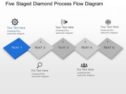 Lp Five Staged Diamond Process Flow Diagram Powerpoint Template Slide