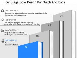 lp Four Stage Book Design Bar Graph And Icons Powerpoint Template