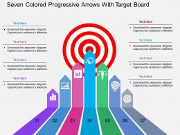 lp Seven Colored Progressive Arrows With Target Board Flat Powerpoint Design