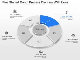 Lq Five Staged Donut Process Diagram With Icons Powerpoint Template Slide