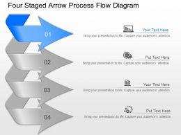 lq Four Staged Arrow Process Flow Diagram Powerpoint Template