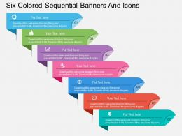 lq Six Colored Sequential Banners And Icons Flat Powerpoint Design